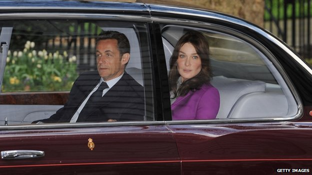Carla Bruni with Nicolas Sarkozy on a state visit to London in 2008