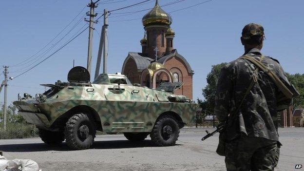 Pro-Russian separatists near Karlivka, 1 July