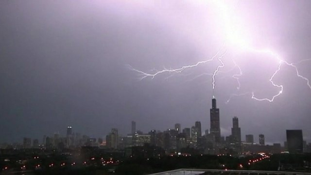 The Willis Tower bore the brunt of the electrical strikes during the storm
