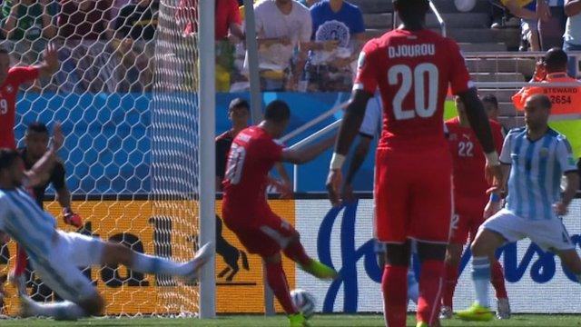 Granit Xhaka with a first half effort for Switzerland