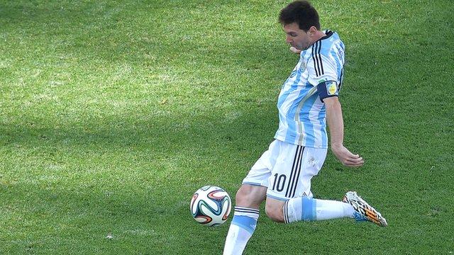 Lionel Messi's volley comes close