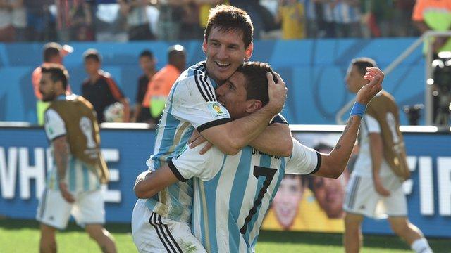 Lionel Messi and Angel Di Maria celebrate after Argentina beat Switzerland