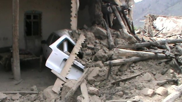 Wreckage of housing in one district in North Waziristan near the Afghan border