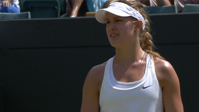 Eugenie Bouchard takes the first set against Angelique Kerber