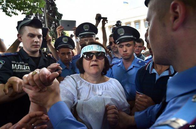 A protester in Kiev, 3 July