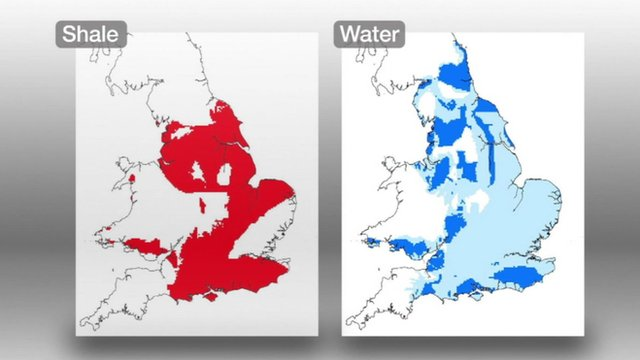 Two UK maps highlighting shale and aquifer locations