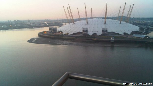 View from his flat in Canary Wharf