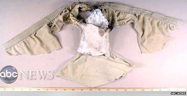 Bomb in underpants worn by Umar Farouk Abdulmutallab (27 December 2009)