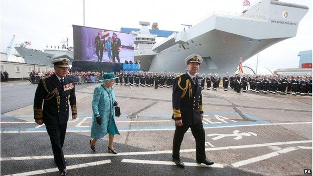 The Queen and the Duke of Edinburgh in front of HMS Queen Elizabeth