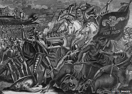 Edward the Black Prince (1330 - 1376) fighting at the Battle of Crecy, during the Hundred Years War.