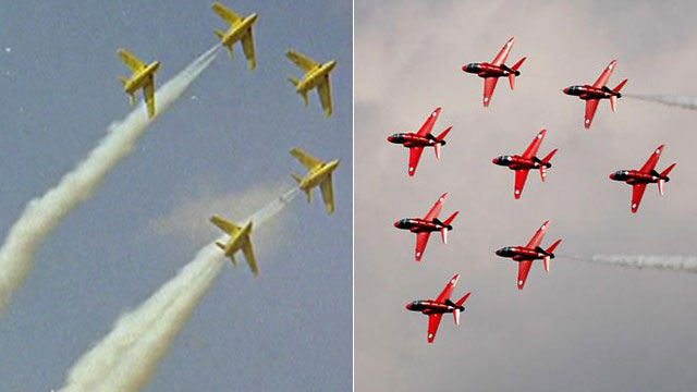 Yellow jets and Red Arrows