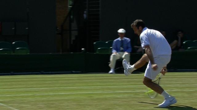 Radek Stepanek pulls of a great shot during the Wimbledon men's doubles semi-finals