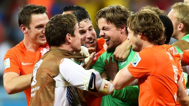 The Netherlands celebrate progressing to the World Cup semi-finals