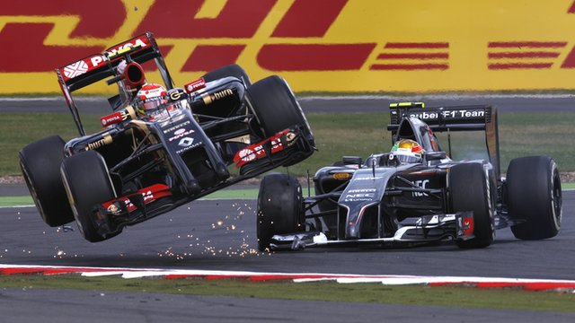 Esteban Gutierrez sends Pastor Maldonado flying