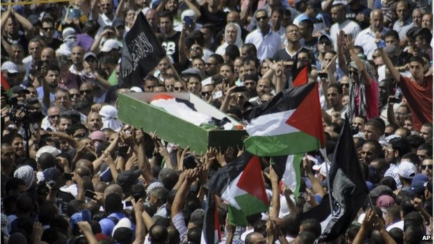 Palestinians carry the body of a 16-year-old Mohammed Abu Khdair in Jerusalem on Friday, July 4