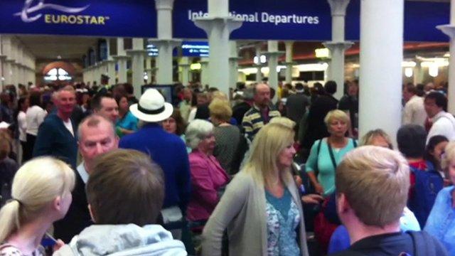 Queues at Eurostar departures terminal