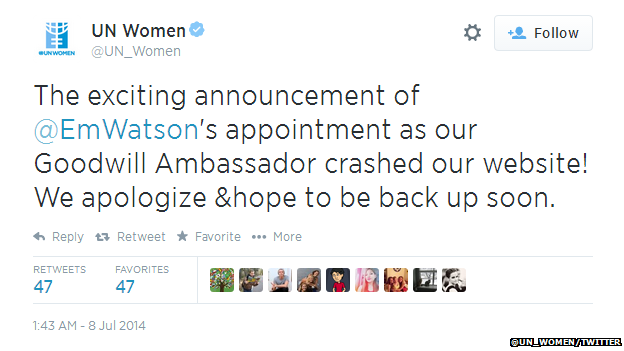 "Tweet from UN Women reading: ""The exciting announcement of @EmWatson's appointment as our Goodwill Ambassador crashed our website! We apologize & hope to be back up soon."""