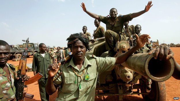 Sudanese soldiers in the oil region of Heglig on 23 April 2012