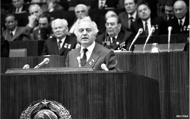 Eduard Shevardnadze addresses Communist Party members in Moscow in 1981