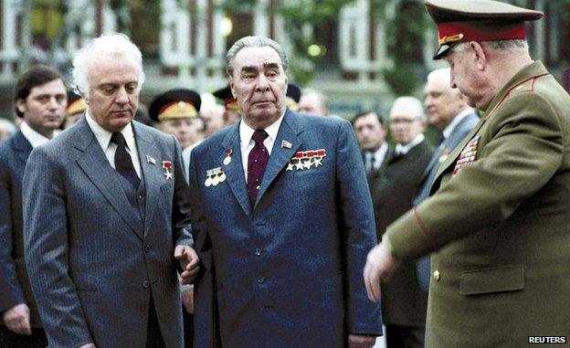 Eduard Shevardnadze with General Secretary of the Central Committee of the Communist Party of the Soviet Union Leonid Brezhnev in 1977 in Tbilisi