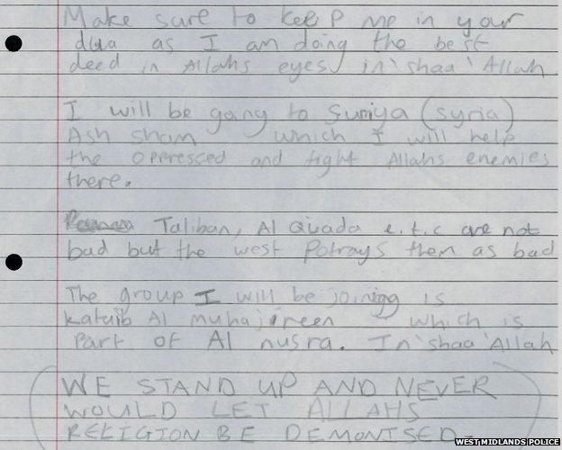 A photograph of a hand-written letter by Yusuf Sarwar