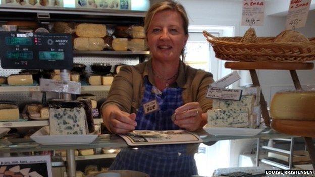 """Sue Jensen in her cheese shop, """"Øens Oste"""""""