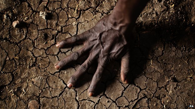 Man's hand on parched soil