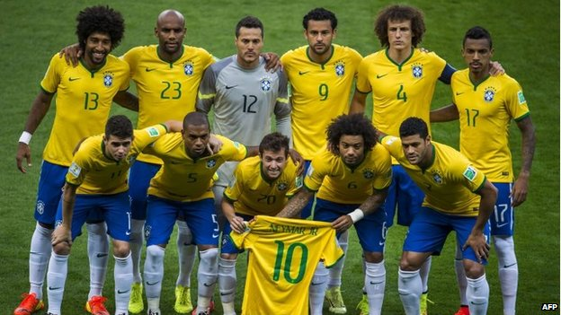 Brazil squad on 8 July 2014 before the Germany match