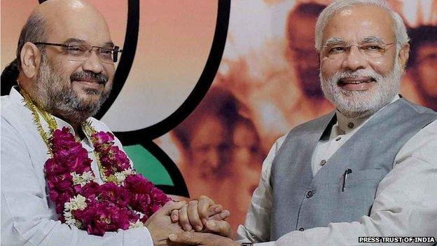 Amit Shah (left) with Narendra Modi