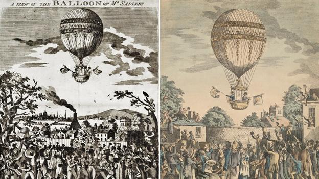 Prints of Sadler's balloon ascents