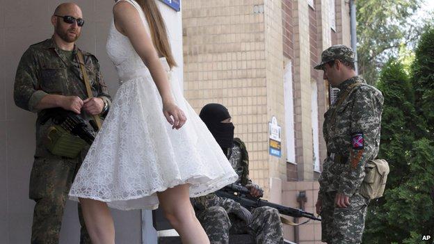 Separatist rebels at wedding in Donetsk