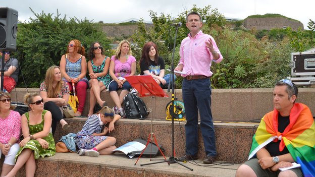 Philip Ozouf addresses gay rights rally