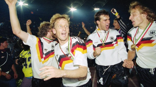 West Germany celebrate winning the 1990 World Cup