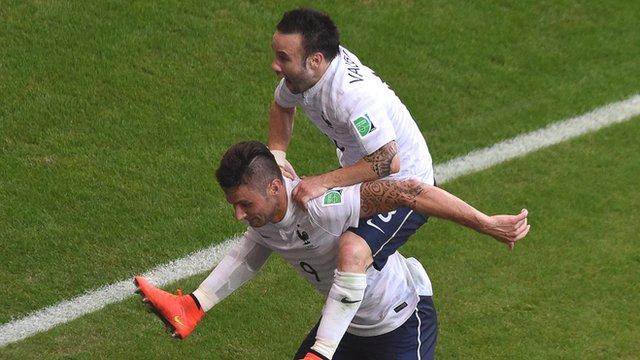 Mathieu Valbuena celebrates after scoring for France against Switzerland