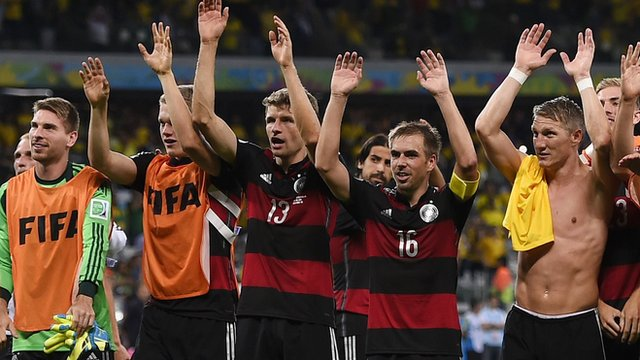Germany celebrate beating Brazil 7-1 in the World Cup semi-finals