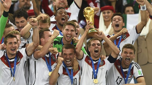 Germany lift the 2014 World Cup trophy