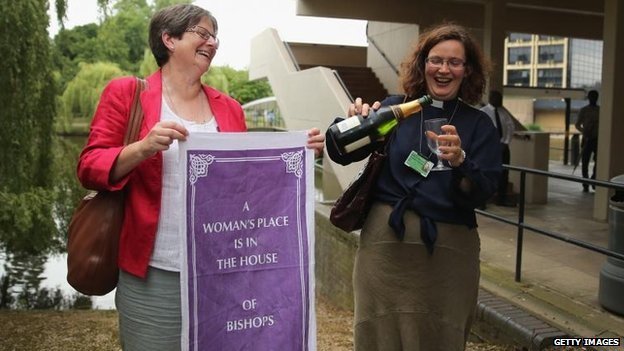 Women celebrating outside the General Synod after the vote