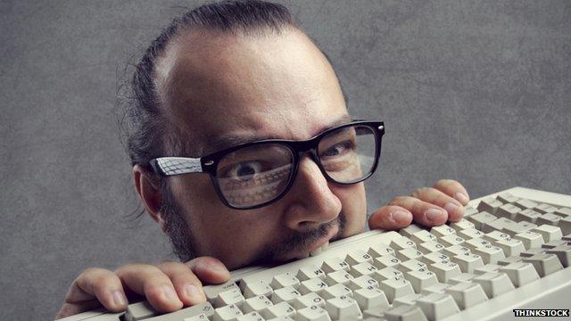 Man eats computer keyboard