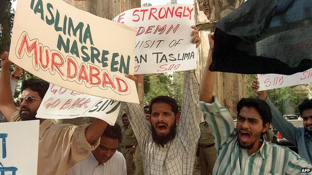 A Muslim protest in Mumbai in 2000 against Ms Nasreen's visit