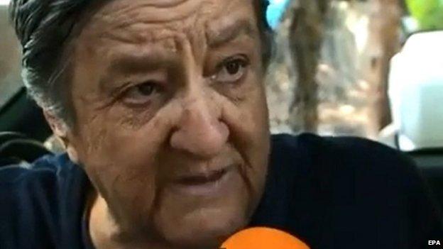 Rosa del Carmen Verduzco speaking to local TV station in Zamora, Mexico