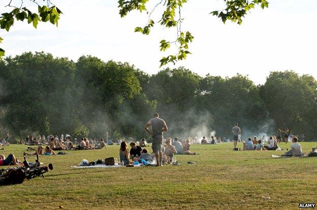 Barbecues in Highbury Fields, north London
