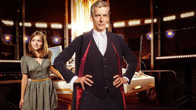 Peter Capaldi as the Doctor with co-star Jenna Coleman