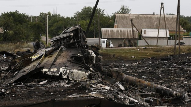 Debris at the site of
