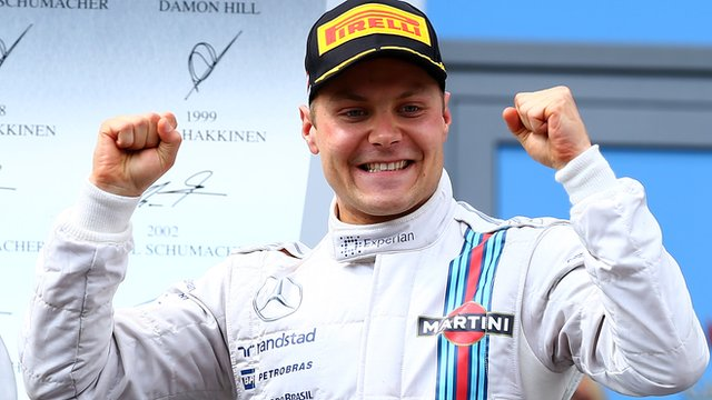 Valterri Bottas on Silverstone podium