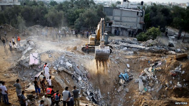The ruins of a house in Khan Younis said to have been hit by an Israeli strike