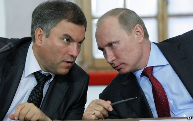 File pic of Vyacheslav Volodin with President Putin in 2011