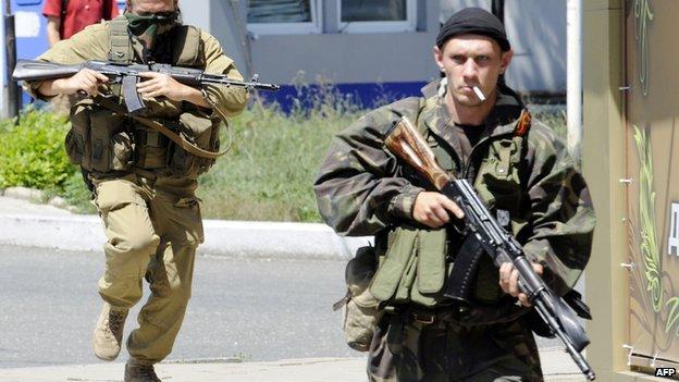 Pro-Russian separatist fighters in Donetsk, 21 Jul 14