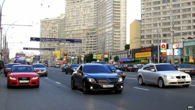 German luxury cars in Moscow - file pic