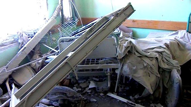 Shelled hospital in Gaza