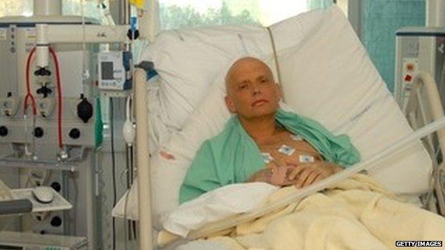 Alexander Litvinenko in hospital shortly before his death
